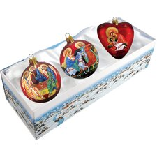 3 Piece Nativity Ornament Set