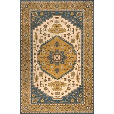 Persian Garden Teal Blue/Ivory Area Rug