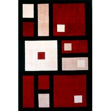 New Wave Black/Red Area Rug