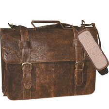 Distress Satchel Laptop Flap Leather Briefcase