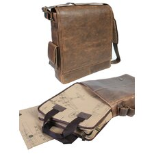 Distressed Leather Laptop Messenger Bag in Brown