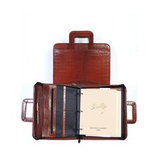 Crocodile Leather Zip Binder With Drop Handles