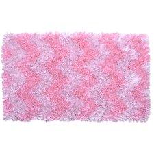 Shaggy Raggy Pink Chevron Rug