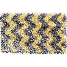 Shaggy Raggy Yellow/Grey Chevron Rug