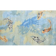 Carpio Fish Blue/Yellow Novelty Rug