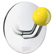 Beslagsboden Single Hook with Yellow Knob in Polished Stainless Steel