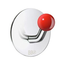 Beslagsboden Single Hook with Red Knob in Polished Stainless Steel