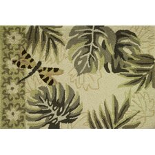 Tropical Leaves and Dragonfly Rug