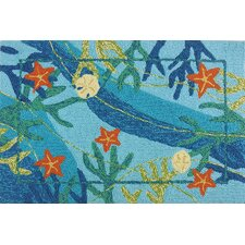 Underwater Blue Coral and Starfish Indoor/Outdoor Rug