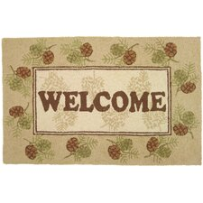 Welcome Pine Cones Rug