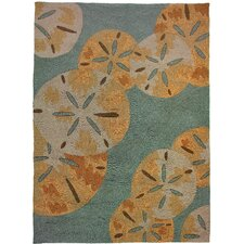 Sand Dollars by the Sea Blue/Gold Indoor/Outdoor Area Rug
