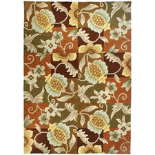 Tropical Pineapple and Flowers Rug