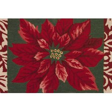 Winter Poinsettia Novelty Rug