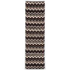 Seville Black/White Zigzag Stripe Area Rug
