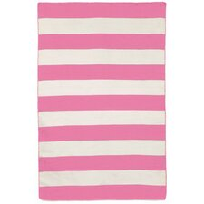 Sorrento Area Rugby Stripe Pink Indoor/Outdoor Area Rug