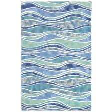 Visions III Wave Blue Area Rug