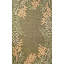 Spello Green Fern Border Rug