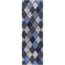 Oasis Slate Geometric Blue Area Rug