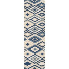 Rain Beige/Navy Geometric Indoor/Outdoor Area Rug