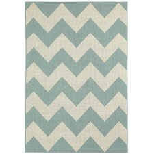 Elsinore Resort Blue Chevron Rug
