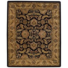 Forest Park Black/Beige Floral Scroll Rug