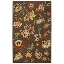 Garden Flowers Chocolate Rug