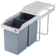 """Einbau-Mülltrenn-System 2x15 """"Multi-Box"""" aus Stahlblech in Cremeweiß"""