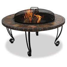 Outdoor Slate Mantel with Copper Accents Fire Pit