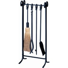 <strong>Uniflame Corporation</strong> 4 Piece Wrought Iron  Inline Fireplace Tool Set With Stand