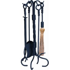 <strong>Uniflame Corporation</strong> 4 Piece Ring Swirl Hand Bronze Fire Tool Set With Stand