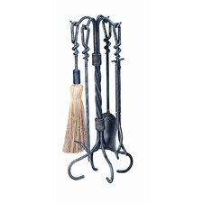 4 Piece Antique Tool Set With Stand