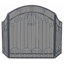 3 Fold Black Wrought Iron Screen With Bars
