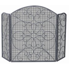 3 Panel Bronze Fireplace Screen with Ornate Design