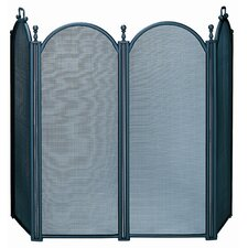 4 Panel Woven Mesh Fireplace Screen