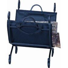 Hammered Crock Black Log Holder w/Carrier