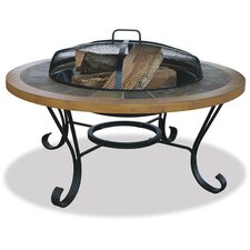 Slate Tile / Faux Wood Outdoor Fire Pit