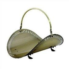Antique Brass Filigree Woodbasket