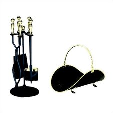 5 Piece Polished Brass Trim Fireplace Accessory Set