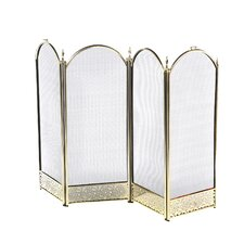Brass Fireplace Screen with Decorative Filigree