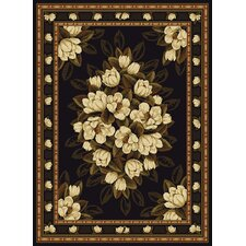 China Garden Sugar Magnolia Black Rug