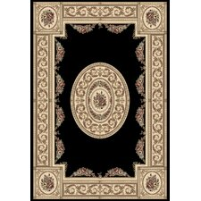 Ancient Garden Black / Ivory Persian Rug