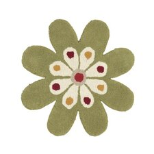 Fantasia Flower Green Kids Rug