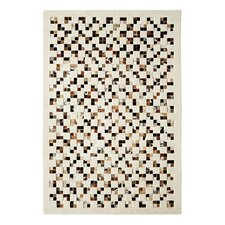 Leather Work Ivory/Brown Checked Rug