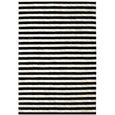 <strong>Dynamic Rugs</strong> Leather Work Ivory/Black Stripe Rug