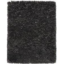 Black & Gray Shag Solid Area Rug