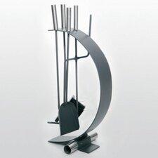 4-tlg. Kaminbesteck aus Edelstahl rostfrei / Eisen