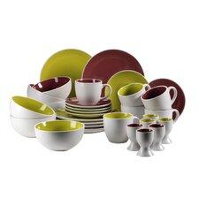 "30-tlg. Frühstücks Set ""Two Tone"" aus Keramik in Purple / Grün"