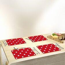 """30 cm x 20 cm Schneidbrett """"Punkte"""" in Rot (Set beinhaltet 4)"""