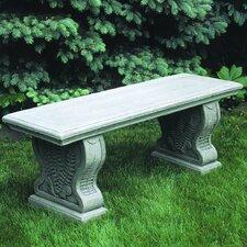 Straight Woodland Ferns Cast Stone Garden Bench