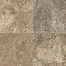 "Alterna Reserve Classico Travertine 16"" x 16"" Vinyl Tile in Sandstone/Blue"